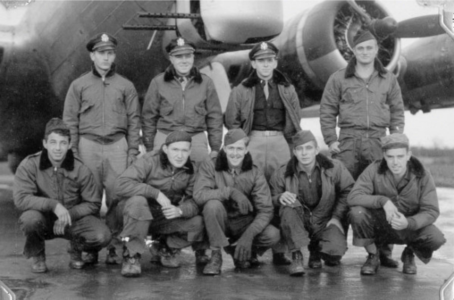 The crew of B17 44-6504 just after being assigned to 303rd Bomb Group.  Back row left to right: Fred Holcombe, James Hardy, George Kyle, Ernest Schieferstein  Front row left to right: Howard Delaney, Frank Turner, William Kaufmann, George Smith, Joel Berly