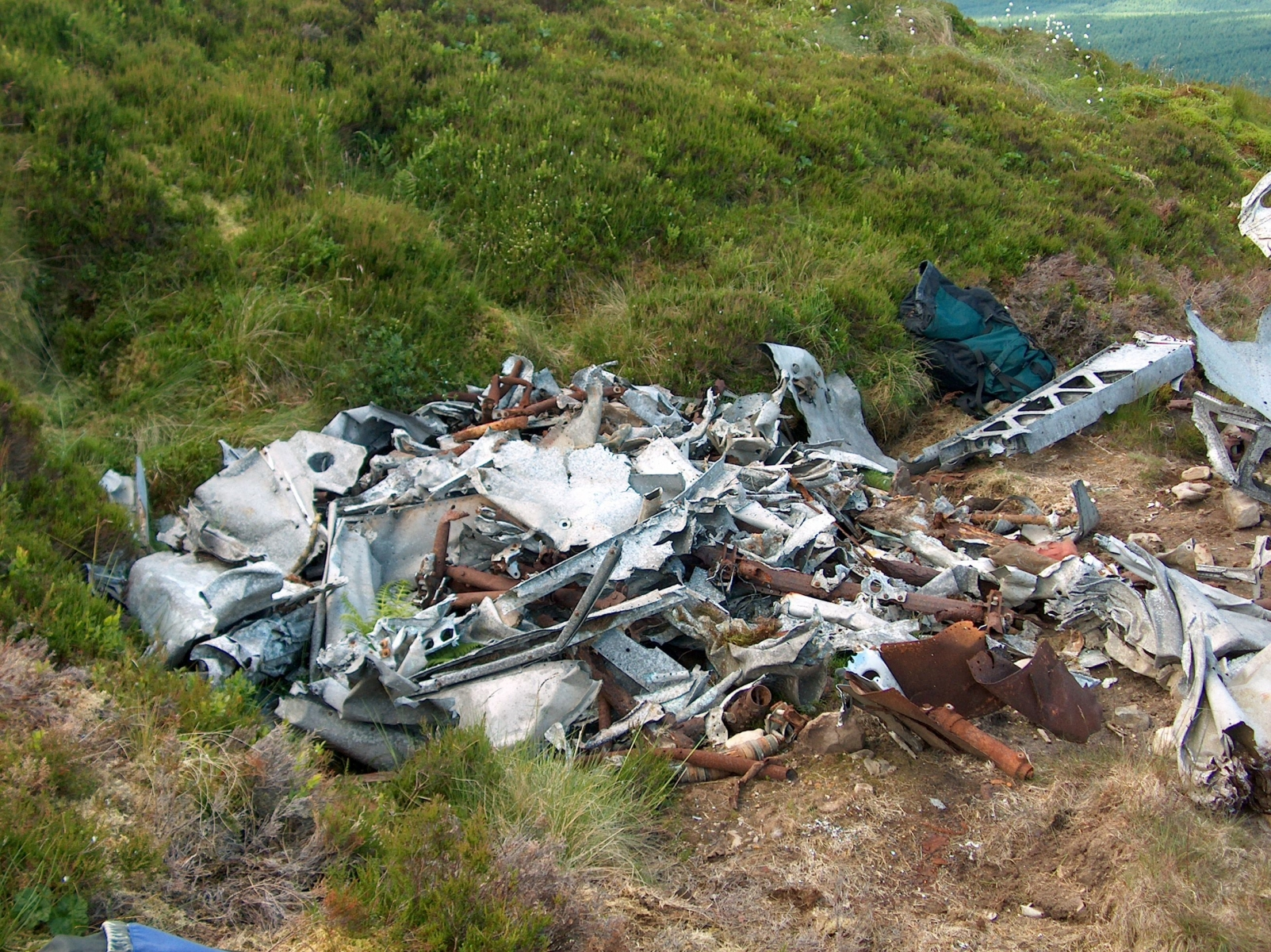 The wreckage of Hurricane Z3150 on the fells above Deadwater.