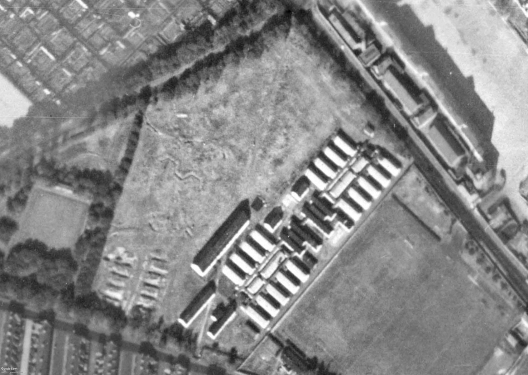 A 1947 aerial image showing the POW camp at Nuns Moor Park. The defensive trench system can be seen to the left.