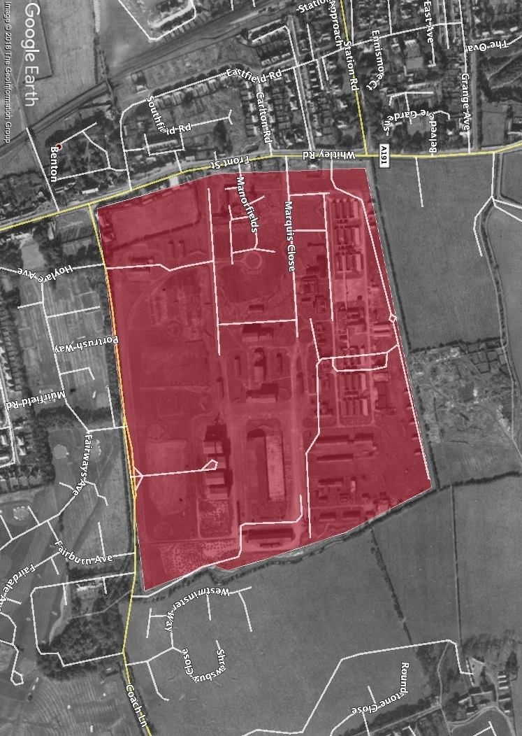 RAF Longbenton. The site marked in red with the current roads marked. Much of the site has now been built on but some structures and roads can still be seen.