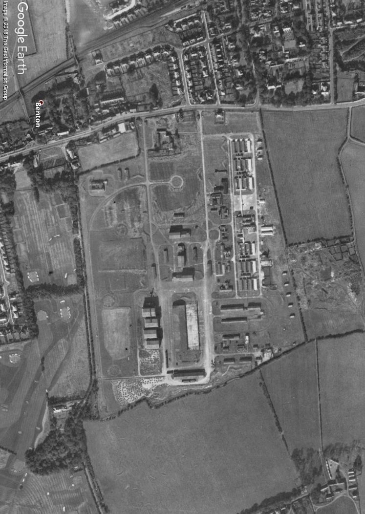 RAF Longbenton as it appeared just after the end of World War 2, the site already being removed for housing.  The four large hangers can be see at the bottom left of the site. Benton Golf Course can be see bottom left of the photo, where German bombs fell in 1941.